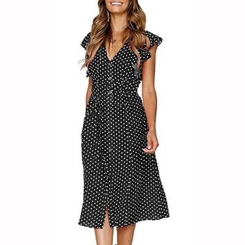 Mid-calf Women Dot Dress Sweet Casual Butterfly Sleeve Button Female Vintage Dress 2019 New Fashion V Neck Sexy Robe Clothing