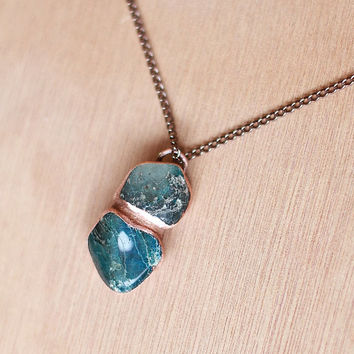 Raw Chrysocolla Necklace Blue Gemstone Necklace Raw Crystal Necklace Raw Stone Pendant Chrysocolla Jewelry Rough Mineral Gemstone Necklace