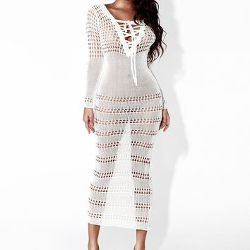 White Cut Out Lace-up Bodycon Long Sleeve Homecoming Party Maxi Dress