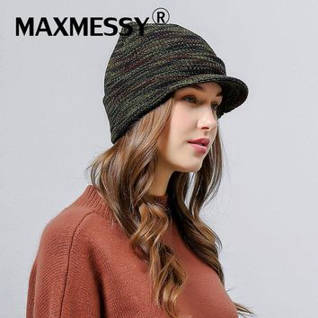 MAXMESSY New Woolen Knitted Baseball Cap Women Snapback Army Skullies Winter Warm Ladies Visor Trucker Hat Bone MH112