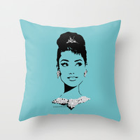 Audrey in Tiffany Throw Pillow by FloresArts
