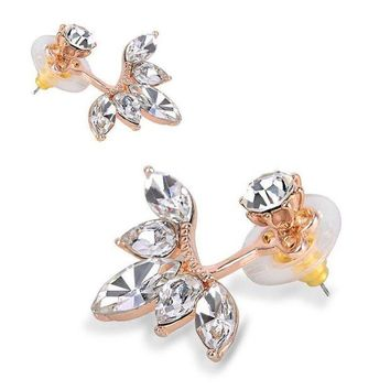 DCCKIN9 Fashion Double Sided Crystal Drop Flower Rose/Gold/Silver Stud Earrings-UKSeller