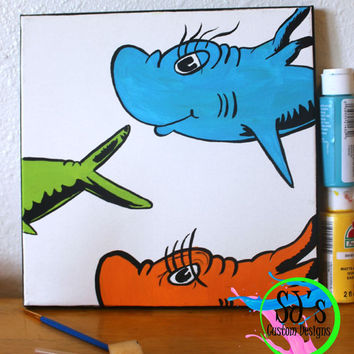One fish, two fish, red fish blue fish: Dr.Seuss inspired painting, Dr.Seuss nursery decoration, Dr.Seuss bedroom painting, Dr.Seuss