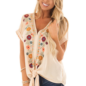 Desert Sand Embroidered Short Sleeve Top with Front Tie