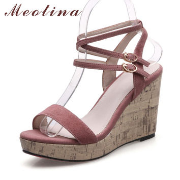 Meotina Designer Shoes Women Suede Leather Sandals Platform Sandals Cross Strap High Heels Wedges Sandals Black Pink Size 34-39