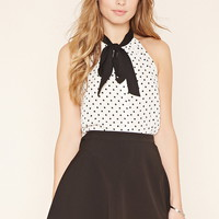 Dotted Tie-Neck Top