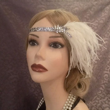 1920s Silver Burst Rhinestone Flapper Headpiece Ostrich Feather Art Deco Headband Head Band Hair Piece 20s Gatsby Adjustable Halloween (718)