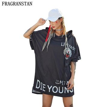 2018 Female New Hip Hop Summer Black Mini Dress Hooded Half Sleeve Vestido Women Harajuku Plus Size Loose Tiger Print Dress Y386