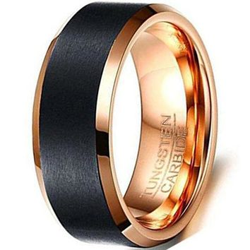 CERTIFIED 8mm Black Tungsten Carbide Ring Rose Gold Plated Fashion Vintage Wedding Engagement Band Matte Finish