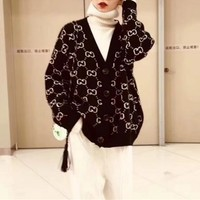 """Gucci"" Women Fashion Classic GG Letter Long Sleeve V-Neck Knit Cardigan Sweater Coat"
