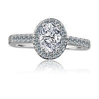0.75 CT. Intensely Radiant Oval Diamond Veneer Cubic Zirconia with Halo Engagement Sterling Silver Ring. 635R3231