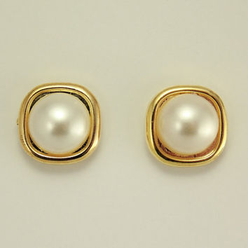 14 mm Square Gold and Pearl Button Earrings in Pierced or Magnetic Style