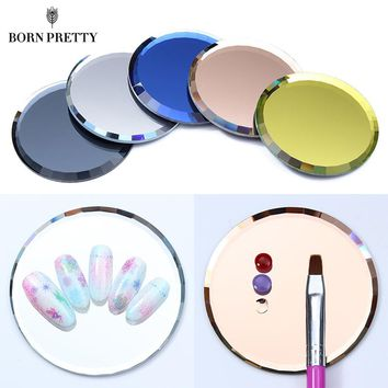 Mirror Glass Color Palette False Nail Tips Display Board Tool Practice Showing Shelf