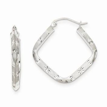 14k White Gold Diamond-cut 2.75mm Square Hoop Earrings