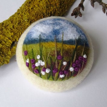 Needle felted brooch Ireland.Felted landscapes.Felted jewelry.Needle felt brooch. Embroidery brooches.Nature's miniatures