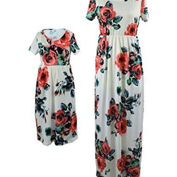 FelinSoul Mother Daughter Short Sleeve Family Matching Floral Maxi Dress Sets