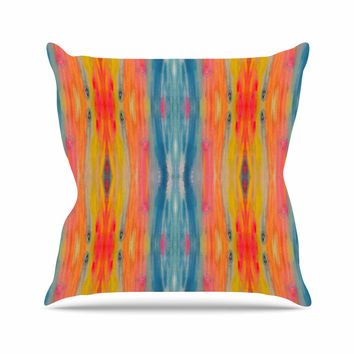 "Nika Martinez ""Boho Tie Dye"" Teal Orange Outdoor Throw Pillow"