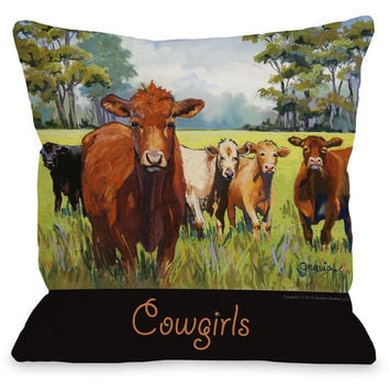 """Cowgirls"" Indoor Throw Pillow by Graviss Studios, 16""x16"""