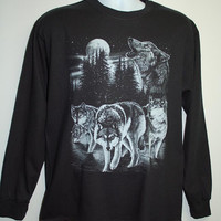 Great looking wolf long sleeve shirt. Wolves, blue moon. full moon, men, women. Sizes Small - X Large