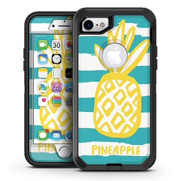 Striped Mint and Gold Pineapple - iPhone 7 or 7 Plus OtterBox Defender Case Skin Decal Kit
