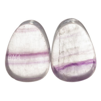 "1/2"" (13mm) Fluorite Teardrop Stone Plugs #6343"