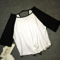 Black And White Raglan Sleeve Cut-Out Back Loose Top