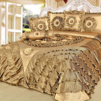 Tache 6 Piece Golden Caramel Latte Faux Satin Comforter Quilt Set