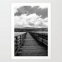 Bridge Over The Sea | Black and White Photography Art Print by itsjademarie
