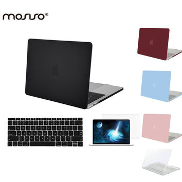 MOSISO for Apple Macbook Pro 13 Touch Bar Pro 15 2016 Hard Case Cover for Mac book Pro 13 No Touch Pad Laptop Shell+Screen Film