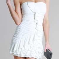White Carrie Ruffle Strapless Dress