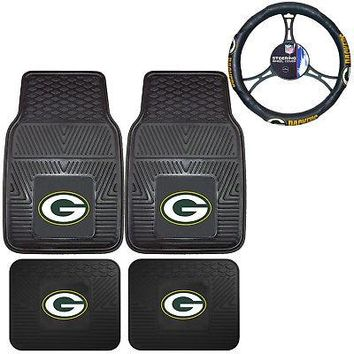 Licensed Official NFL Green Bay Packers Car Truck Rubber Floor Mats & Steering Wheel Cover Set