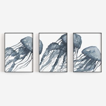 Blue Jellyfish Painting Triptych Wall Art Print or Canvas