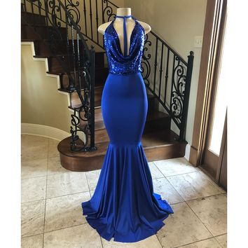Royal Blue Mermaid Dress Evening 2018 Halter Backless Sparkly Sequin Elastic Satin Long Prom Gowns Vestido De Fiesta Custom Made