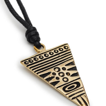 Aztec Tribal Handmade Brass Necklace Pendant Jewelry