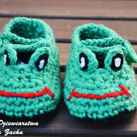 Green Crochet baby shoes, baby booties , Frog shoes , baby slippers , summer baby boy shoes, baby girl shoes