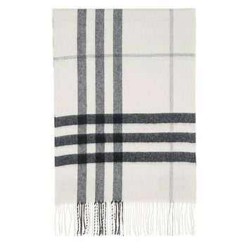 VONE05 Burberry Women's Giant Check Scarf Ivory