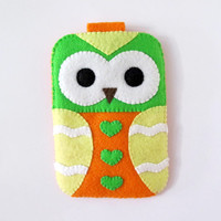 Green Orange Hearts Owl iPhone Camera Cell Phone Gadget Cute Case with closure