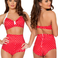 Red Polka Dot High Waisted Bikini Bottom Shortss and wide range of Unique Bikini Mix-n-Match Bottoms at ElectriqueBoutique.com