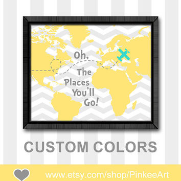 dr seuss oh the places nursery gift ideas yellow gray dr seuss nursery baby wall decor world map baby decor kids room decor playroom art