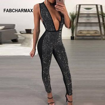 rhinestone jumpsuit sequined deep V diamonds sleeveless bodycon jumpsuit