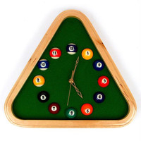 Pool Rack Quartz Clock with Solid Wood Frame
