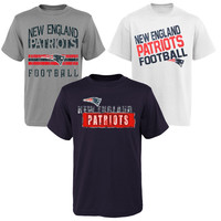 Preschool New England Patriots Navy Blue/Ash/White 3-Point Stance 3-Piece T-Shirt Set