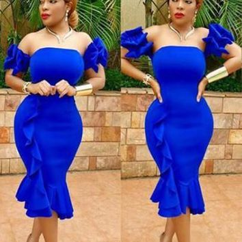 Royal Blue Ruffle Pleated Off Shoulder Bandeau Backless Bodycon Mermaid Party Midi Dress
