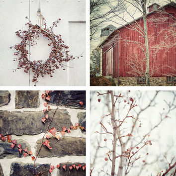Rustic Red Photograph Set Shabby Chic by LisaRussoPhotography