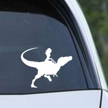 Dinosaur Raptor Cowgirl Die Cut Vinyl Decal Sticker
