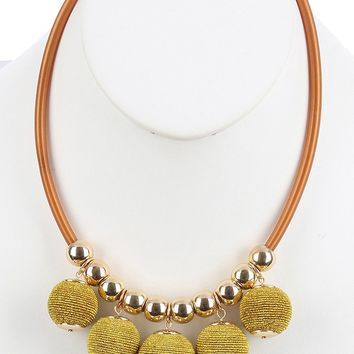 Gold Color Cord Wrapped Chunky Ball Fringe Bib Necklace