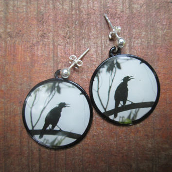 Crow Earrings Black Bird Silhouette Circle Earrings on Sterling Silver Ear Posts