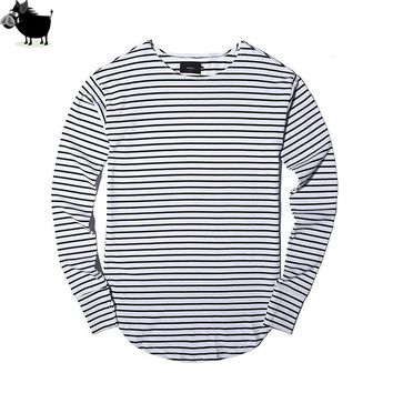Man Si Tun Hot Streetwear Hip Hop Kpop Hipster Urban Striped Curved Hem Tee  Mens Clothing Extra Long Sleeve Longline T shirts