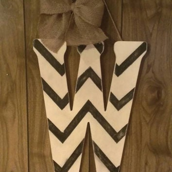 "18"" chevron initial door hanger - monogram door hanger, distressed chevron door hanger, black and white chevron letter, wooden letter"
