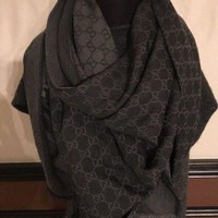 ONETOW GUCCI brown Monogram GG Diamante Giant 55' PASHMINA shawl scarf Authentic
